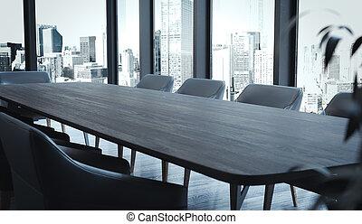 stanza conferenza, legno, grande, moderno, rendering., scuro, windows, interno, poltrone, tavola., 3d