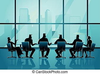 stanza conferenza, persone affari, esecutivo, riunione, ...