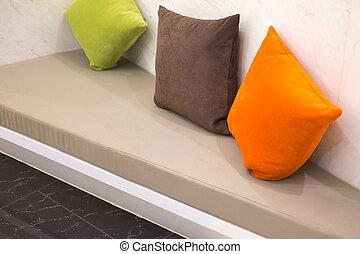 stanza, cuoio, interno, vivente, cuscino, colorito, divano
