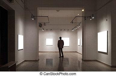 stanza, dall'aspetto, cornici, galleria, vuoto, uomo
