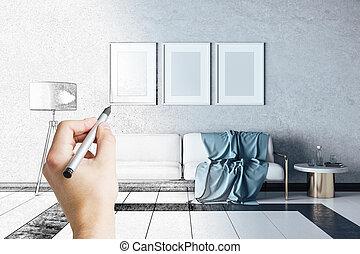 stanza, disegno, mano, vivente, divano