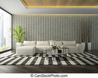stanza, divano, moderno, interpretazione, disegno, interno, bianco, 3d