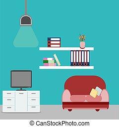 stanza, divano, torace, disegno, interno, rosso, mobilia