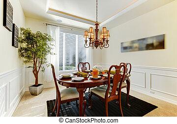 stanza, elegante, cenando, cena, cadere, tavola, decorato