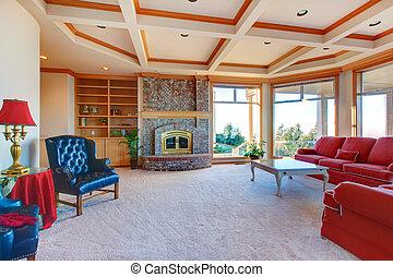 stanza, famiglia, elegante, mobilia, caminetto, lussureggiante