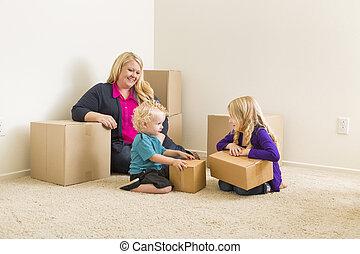stanza, famiglia, giovane, scatole, spostamento, vuoto