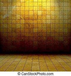 stanza, grunge, dorato, mosaico