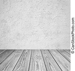stanza, interior:, grigio, cemento, parete, con, pavimento legno
