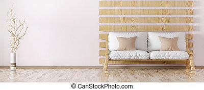 stanza, interno, 3d, vivente, interpretazione, disegno, moderno