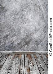 stanza, interno, con, parete concreta, (loft, style), e, pavimento legno, fondo