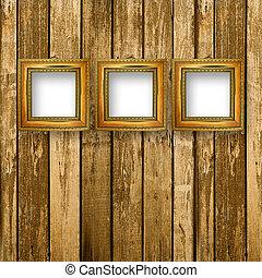 stanza, interno, legno, portato, vecchio, cornici, superficie, grunge, industriale