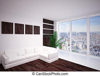 stanza, interno, salotto, vivente, moderno