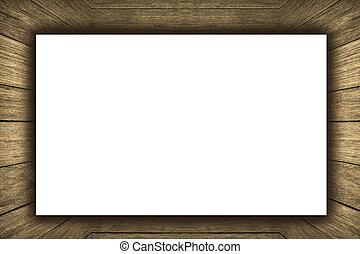 stanza, interno, vendemmia, con, parete legno, pavimento legno, e, bianco, vuoto, cartellone, fondo