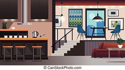 stanza, interno, vivente, disegno, cucina