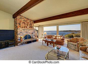 stanza, interno, vivente, soffitto, vaulted, lusso