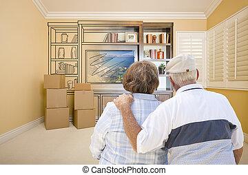 stanza, intrattenimento, coppia, dall'aspetto, anziano, disegno, unità