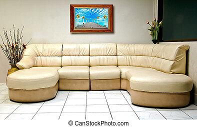 stanza, legno, divano, cornice, moderno, interno, bianco