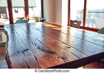 stanza, legno, moderno, casa, cenando, interno, tavola