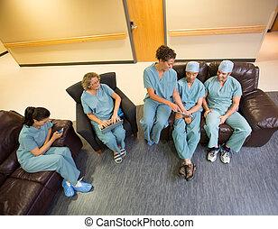stanza, medico, attesa, squadra, usando, tecnologie,...