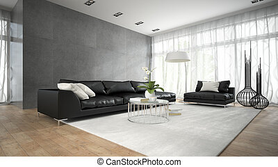 stanza, moderno, divano, interpretazione, 2, nero, interno, 3d