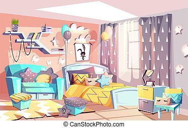 stanza, moderno, illustrazione, interno, ragazza, capretto