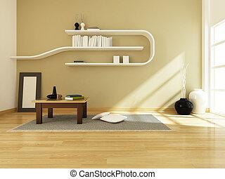 stanza, moderno, interpretazione, disegno, interno, 3d