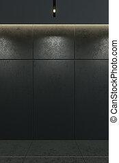 stanza, moderno, interpretazione, nero, interno, vuoto, 3d