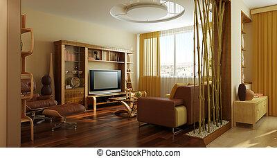 stanza, moderno, salotto, interpretazione, interno, 3d