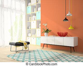stanza, moderno, vaso, interpretazione, 2, disegno, interno, rosso, 3d
