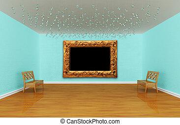 stanza, panche, vuoto, galleria