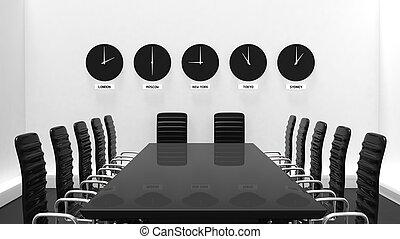 stanza, parete, clocks, interno, mondo, bianco, riunione
