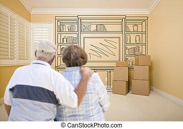 stanza, parete, mensola, coppia, anziano, disegno, vuoto
