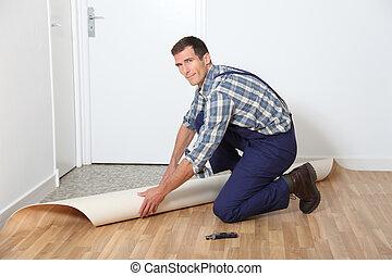stanza, pavimento, installare, closeup, artigiano, suolo