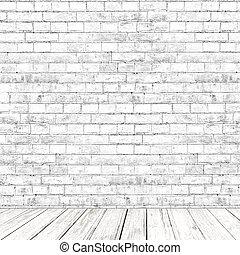 stanza, pavimento, parete, legno, fondo, mattone bianco