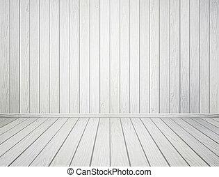 stanza, pavimento, parete legno, interno, bianco