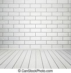 stanza, pavimento, parete, legno, interno, mattone bianco