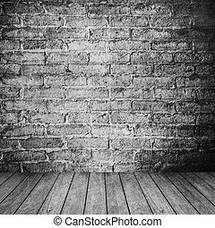 stanza, pavimento, parete, vendemmia, legno, fondo, interno, mattone bianco
