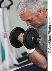 stanza, peso, sport, white-haired, maturo, sollevamento, ...
