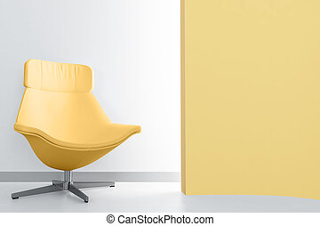 stanza, poltrona, giallo, lusso, luce, vuoto