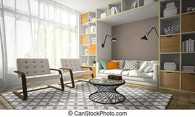stanza, poltrona, moderno, due, interpretazione, 2, disegno, interno, bianco, 3d