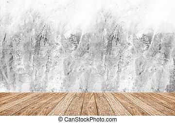 stanza, prospettiva, -, bianco, ruvido, cemento, parete, e, pavimento legno