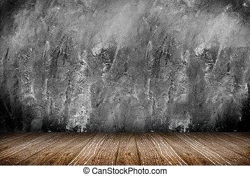 stanza, prospettiva, -, ruvido, cemento, parete, e, pavimento legno, ba