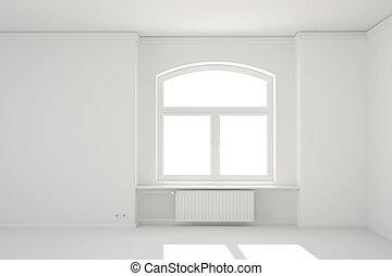 stanza, radiatore, riscaldamento, finestra, bianco, vuoto