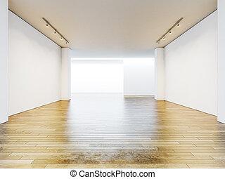 stanza, render, legno, floor., pareti, vuoto, galleria, vuoto, 3d