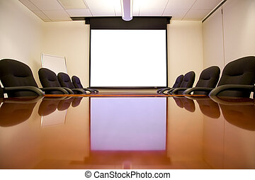 stanza riunione, con, schermo