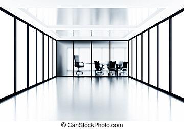 stanza riunione, e, vetro, windows, in, moderno, costruzione ufficio