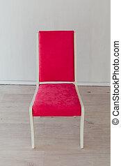 stanza, rosa, vecchio, uno, sedia, vuoto, interno, bianco