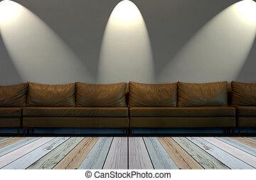 stanza, scuro, bianco, luci, posto, parete