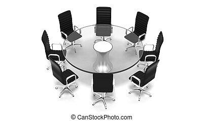 stanza, sedie cuoio, isolato, tavola bicchiere, bianco, riunione, rotondo