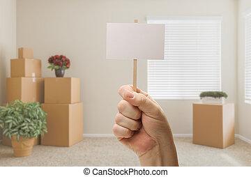stanza, segno, scatole, spostamento, vuoto, presa a terra, vuoto, mano, fatto valigie